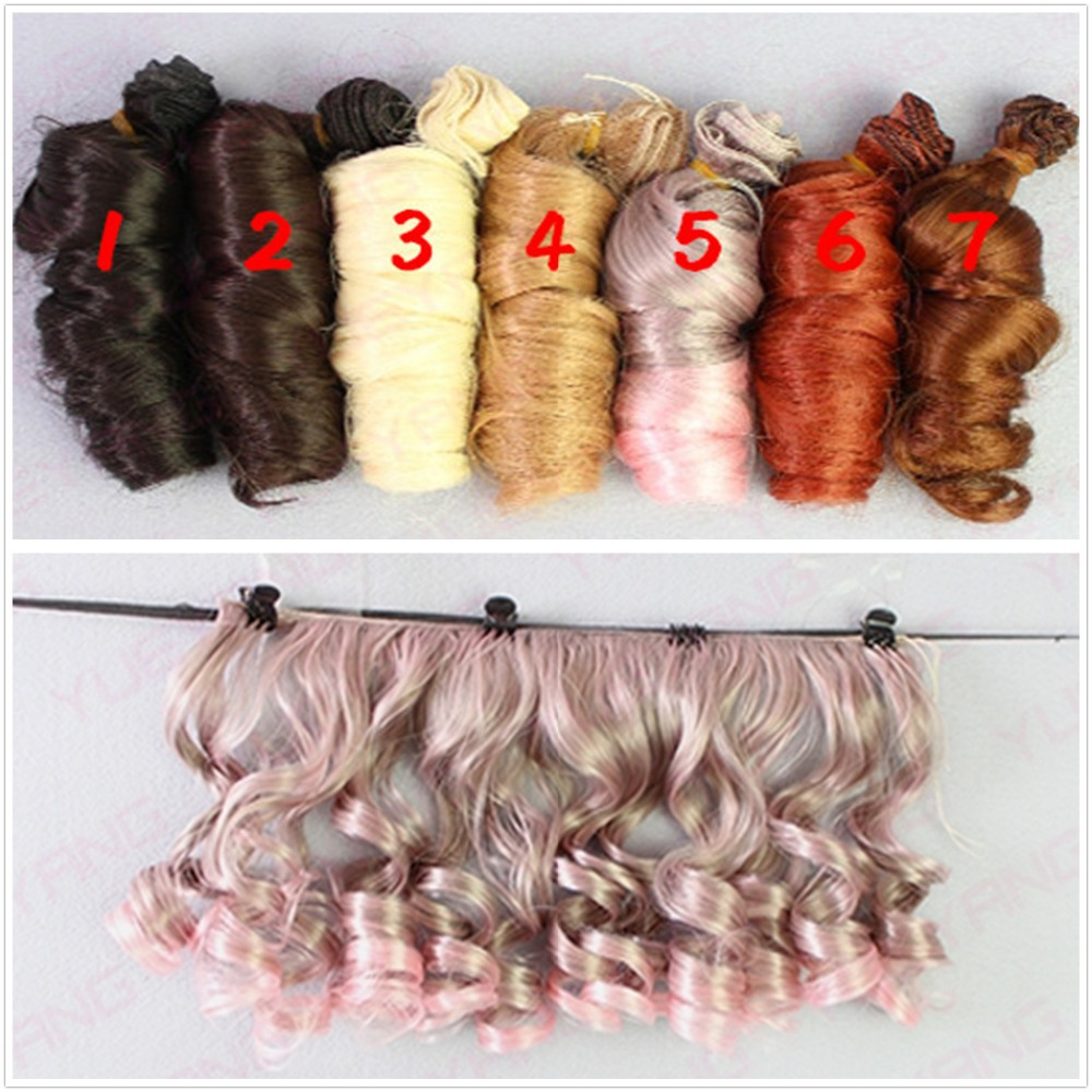 AILAIKI 5Pcs/lot Fashion BJD SD DIY Wigs Hair High-temperature Wire Handmade Curly Doll Wigs Involtini Alla Romana Wig 15*100CM doll hair wigs for 1 3 1 4 1 6 bjd wigs high temperature wire fashion curly hair piece for bjd sd dollfie 1pcs 25cm 100cm