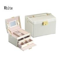 High Quality PU Leather Three layer double drawer jewelry box Jewelry Display Gift Box White