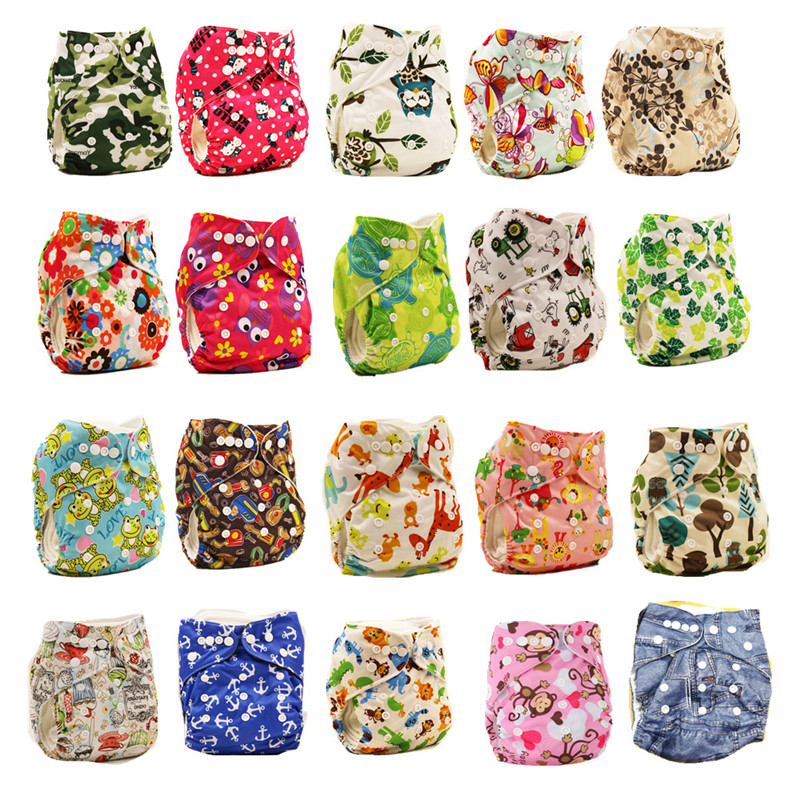 Bunga Dicetak Penutup Popok Bayi Reusable Cloth Cover Popok Kartun Bayi Popok Popok Ukuran Disesuaikan 0-2 Tahun