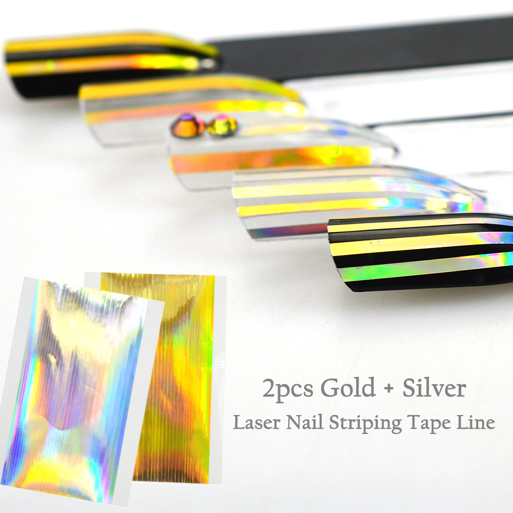 Gold Striping Tape Nail Art: Aliexpress.com : Buy 2 Sheet Gold Silver Laser Nail Art