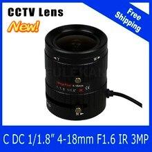 3Megapixel Varifocal CCTV Lens 1/1.8 inch 4-18mm C Mount DC IRIS For SONY IMX185 1080P Box Camera/IP Camera Free Shipping