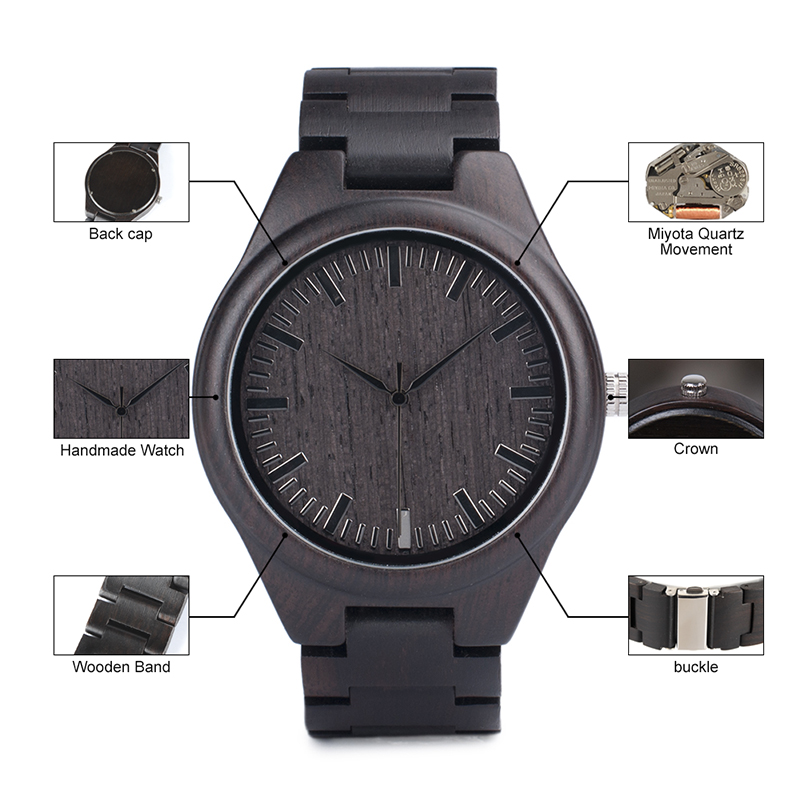 BOBO BIRD Mens Black Ebony Wooden Watches Wood Links Causal Quartz Wrist Watch in Gift Box custom logo 15