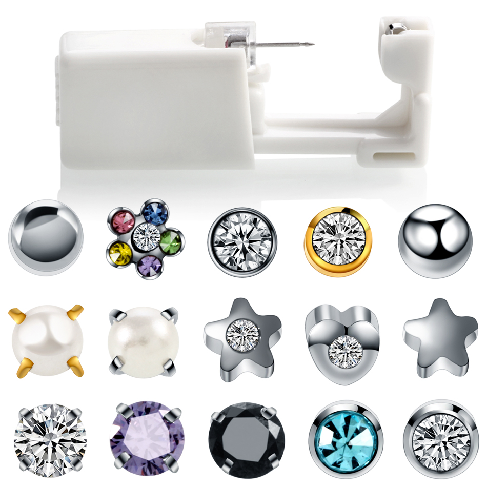 Ear Piercing Gun-Tool-Kit Stud-Earring Sterile Build Tragus Helix Disposable Steel Cartilage