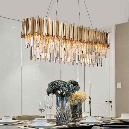 Люстра для ресторана, Скандинавская металлическая прямоугольная хрустальная лампа из нержавеющей стали, роскошная барная люстра
