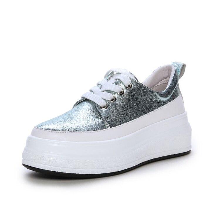 MLJUESE 2019 ผู้หญิง Sheepskin ลูกไม้สีฟ้าสี loafers ลำลองรองเท้า creeper รองเท้าขนาด 34 42 party ชุด-ใน รองเท้าส้นเตี้ยสตรี จาก รองเท้า บน   3