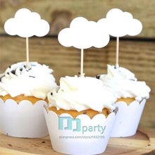 5Pcs/Bag Baby Shower Theme Cloud Cupcake Toppers Custom White Cake for