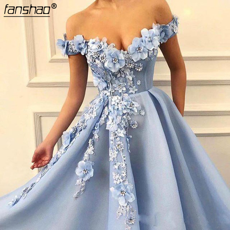 Blue Off The Shoulder Prom Dresses 3D Flower Beading Abendkleider Evening Gowns Draped Long Prom Dress 2019-in Prom Dresses From