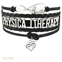 (10 pcs/lot) Infinity Love Physical Therapy Heart Charm Bracelets For Women Men Gifts Bracelet Black Leather Custom Jewelry