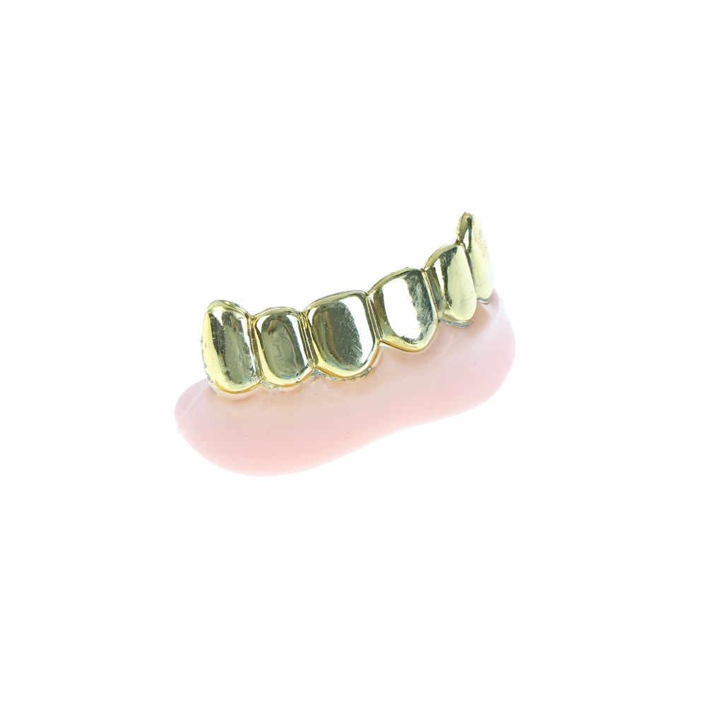 1 pieza decoración de Halloween oro plata dientes falsos a granel partido Bling parrillas dientes chapados
