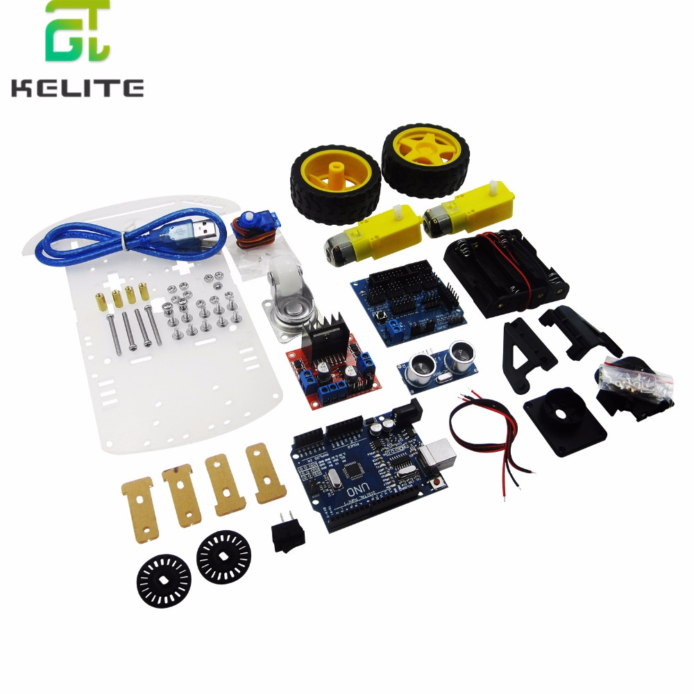 New Avoidance tracking Motor Smart Robot Car Chassis Kit Speed Encoder Battery Box 2WD Ultrasonic module For kitNew Avoidance tracking Motor Smart Robot Car Chassis Kit Speed Encoder Battery Box 2WD Ultrasonic module For kit
