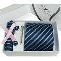 100% gravatas de seda dos homens laços definir abotoaduras lenço de xadrez de gravata xadrez listra Mans com caixa de presente