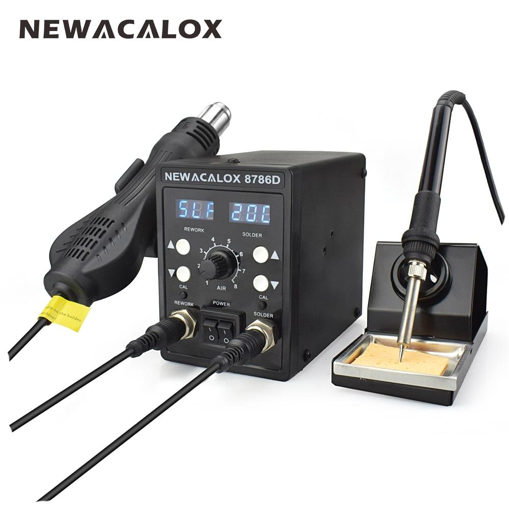 NEWACALOX 2 Em 1 8786D 750 w Azul Digital Reparação de Retrabalho SMD Estação De Solda Conjunto de Ferro De Solda PCB Desoldering ferramenta