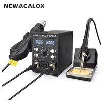 NEWACALOX 8786D 878 750W Blue Digital 2 In 1 SMD Rework Soldering Station Repair Welding Soldering Iron Set PCB Desoldering Tool