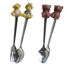 2Pcs Bear Spoon Cutlery Cartoon Kids Stainless Steel Tableware ice cream Salad Coffee Spoon Kitchen Accessories Gift 45