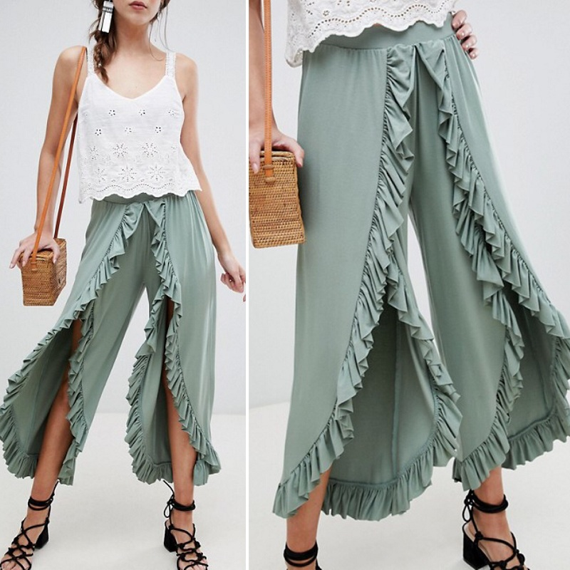 Fanco Sexy Ruffles Casual Women   Pants     Capri   High Waist Baggy Split Summer   Pants   Female Ladies Wide Leg Trousers Bottom