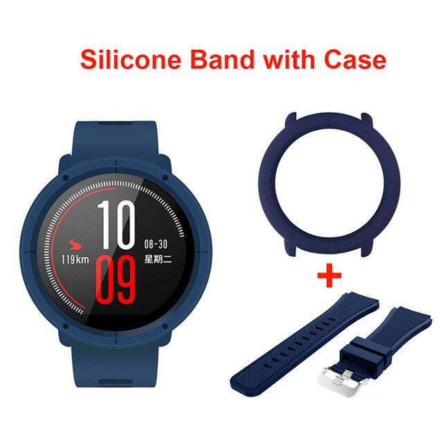 Correa de correa de reloj de silicona con marco de caja delgado para Xiaomi Huami Amazfit Pace reemplazo de muñequeras cubierta de protección completa