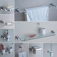 Bathroom Hardware Accessories Chrome Single Towel Bar Rail Toilet Paper Holder Shower Soap Dish Pump Brush Holder Glass Shelf
