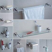 Accessoires de matériel de salle de bains Chrome unique porte-serviettes Rail porte-papier hygiénique douche porte-savon pompe à vaisselle porte-brosse étagère en verre