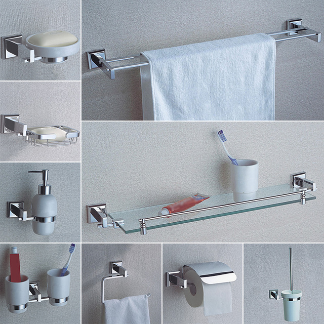 Bathroom Hardware Accessories Chrome Single Towel Bar Rail Toilet Paper  Holder Shower Soap Dish Pump Brush