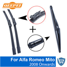 QEEPEI Front and Rear Wiper Blade no Arm For Alfa Romeo Mito 2008 Onwards High quality Natural Rubber windscreen 26''+16''