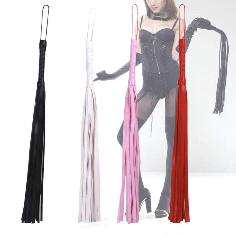 Sexy Bondage PU Leather Whip Flogger Handle Tassels Restraints Adult Sex Toys