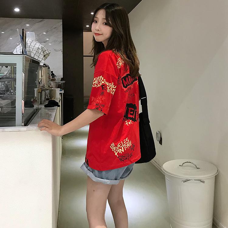 T-shirts Women Graffiti BF European Style Loose Harajuku Hip Hop Streetwear Chic Couple Clothes Unisex Daily Tshirt Womens Soft 95