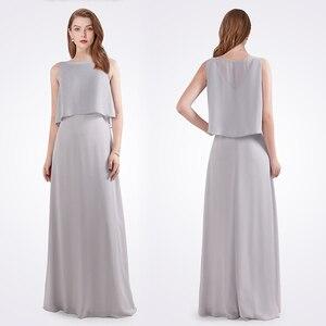 Image 3 - גלימת דה Soiree לונג 2020 נשים אונליין שרוולים שיפון O צוואר גריי זול צד פורמלי שמלות EB07632 אלגנטי שמלת ערב