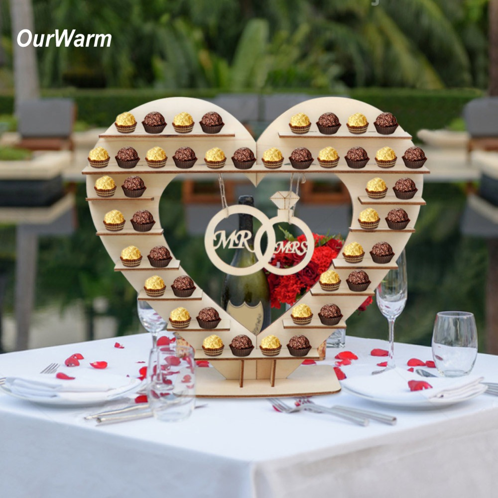 OurWarm Wooden Cake Candy Bar Stand Macaron Dessert Pop Stand Birthday Party Favor For Guest Rustic Wedding Table Decoration