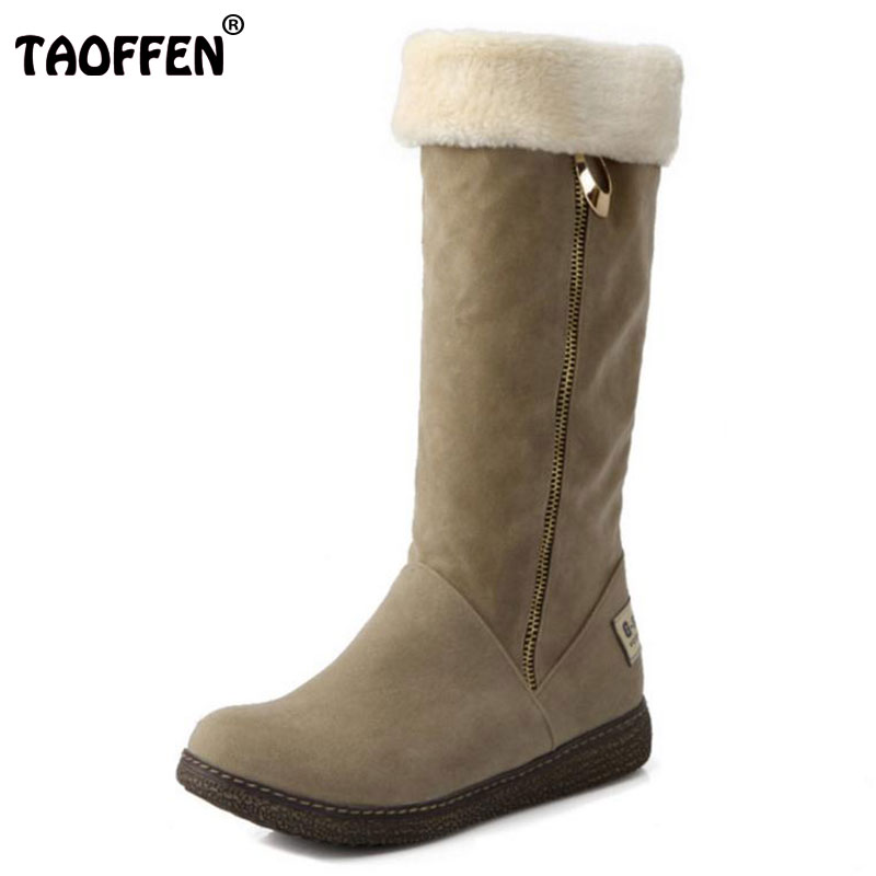 TAOFFEN Size 34-41 Women Half Short Boots Flats Snow Boots Thick Fur Shoes In Cold Winter Boots Mid Calf Botas Women Footwear women half short boots flat winter thicken fur warm mid calf boot bota feminina gladiator botas footwear shoes size 34 40