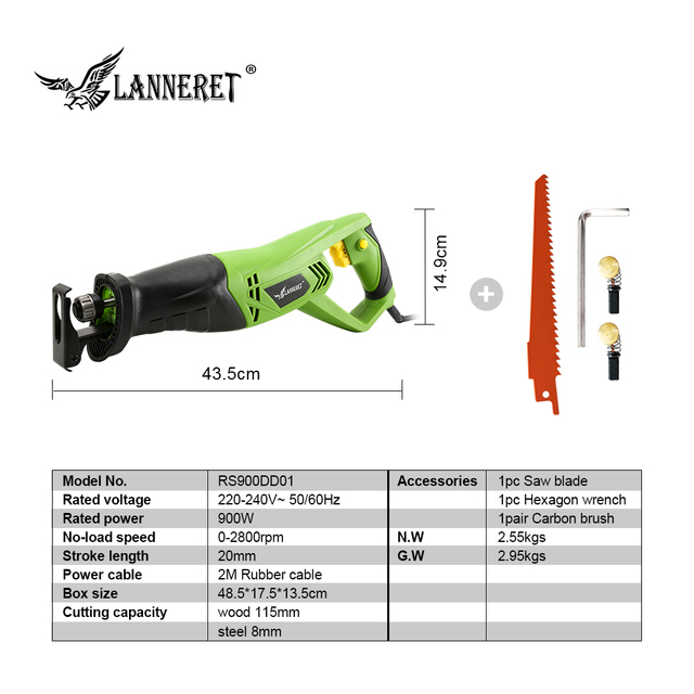 LANNERET 900W Electric Reciprocating Saw Woodworking Metal Cutting Saber Hand Saw Variable Speed Multi-function Power Tools 1