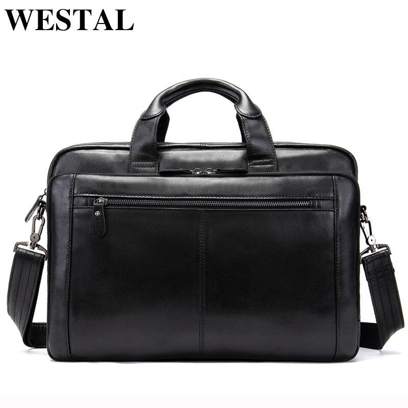 WESTAL męska teczki prawdziwa skóra dla mężczyzn torby Messenger torby męskie torba skórzana torba na laptopa torba dla mężczyzn komputera/torby na dokumenty 9207 w Teczki od Bagaże i torby na  Grupa 2