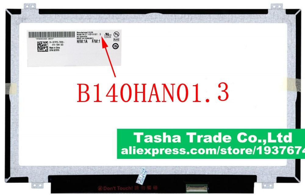 B140HAN01.3 AUO AU Optronics  LCD Laptop Screen Glossy eDP 30pin New Original b156xw02 v2 b156xw02 v 2 au optronics screen lcd screen display panel glossy glare original for laptop new no deadpixel