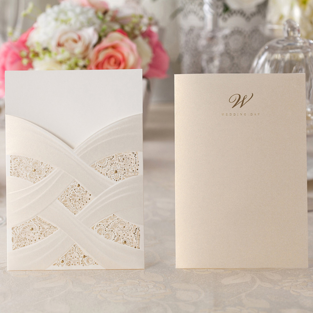 Wishmade Vertical Laser Cut Wedding Invitation Cards with White Hollow Flora For Marriage Party Supplies 100pcs lot CW060 in Cards Invitations from Home Garden