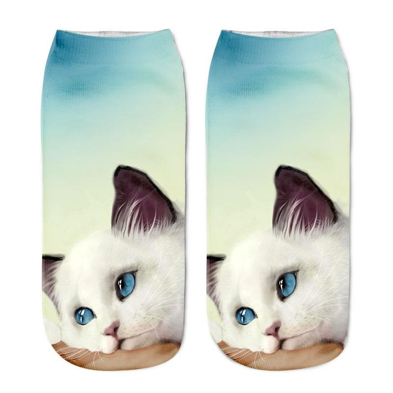 Zebery New Style 3D Printing Sock Women s Unisex Cat Low Cut Ankle Socks Cotton Hosiery