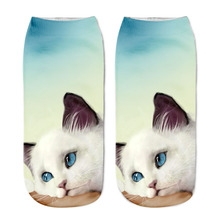 Zebery New Style 3D Printing Sock Women's Unisex Cat Low Cut Ankle Socks Cotton Hosiery Printed Casual Socks
