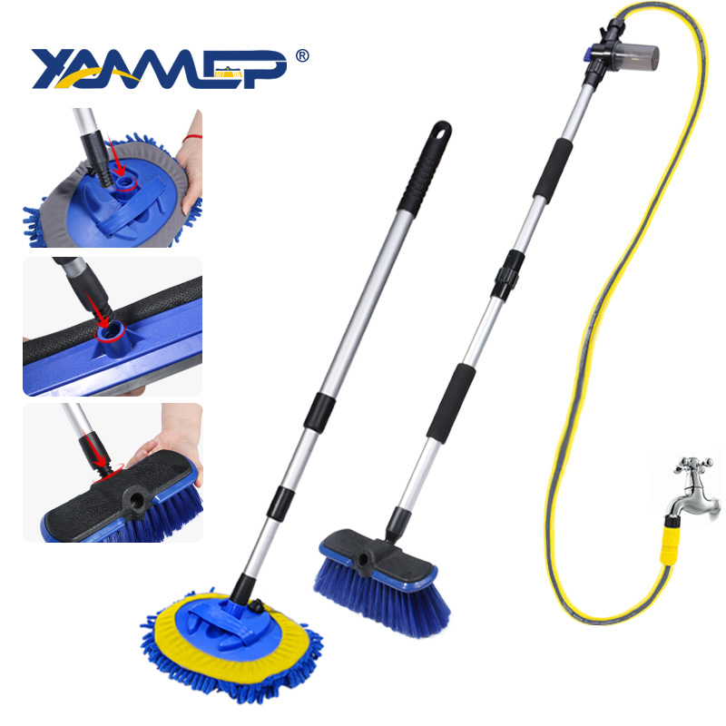 Car Wash Brush Cleaning Mop Chenille Broom Water Flow Windows Squeegee Telescoping Handle Foam Bottle Car Accessories Xammep(China)