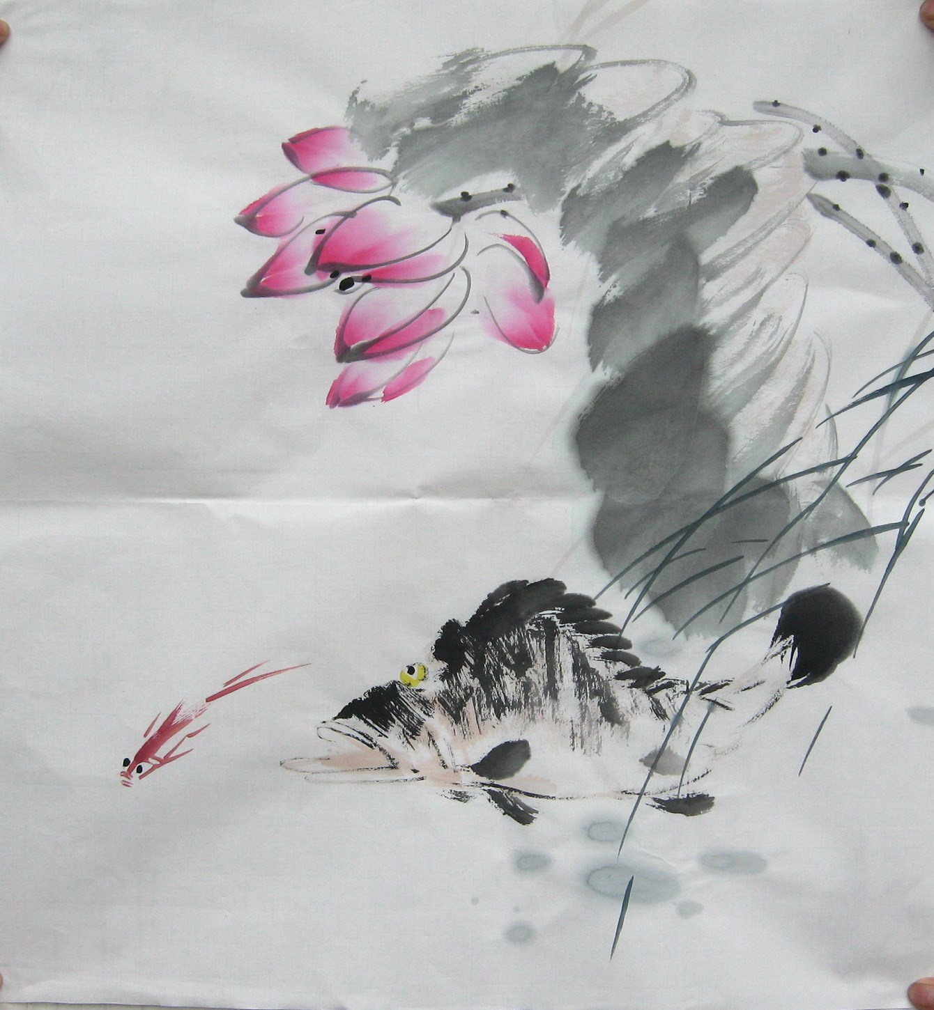 100 Hand Painted Chinese Painting Chinese Art Paper Home Decoration Lotus Fish 50x 50cm Chinese Art Chinese Paintinghand Painted Aliexpress