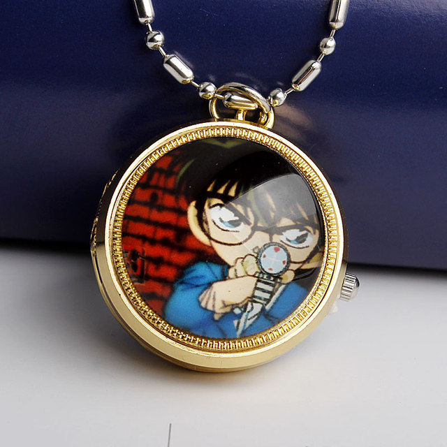Fashion Detective Cosplay Conan Catton Small Quartz Pocket Watch With Necklace C