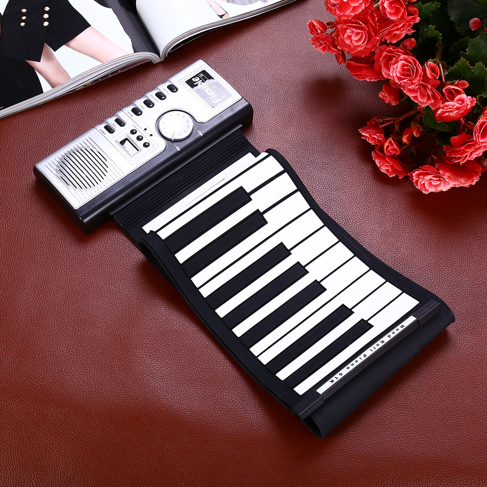 цена на Flexible 61 Keys Soft Portable Electric Digital Roll-up Keyboard Piano Electronic MIDI Digital Piano
