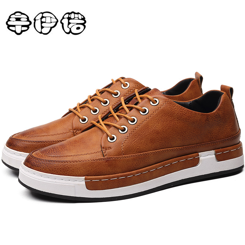 Autumn New Casual Shoes Mens Leather Flats Lace Up Shoes