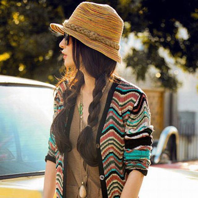 Envío gratis color natural sombrero de paja tejida, dama de moda Bohemia sol del verano del sombrero