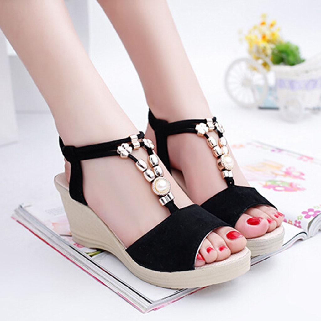 MUQGEW Women's Shoes Wedges Platform String Roman Sandals Elastic-Band Ladies Fashion