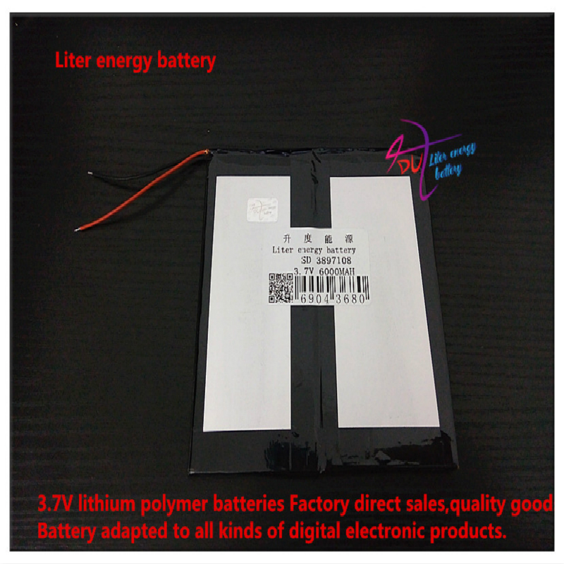<font><b>3.7V</b></font> <font><b>6000mAH</b></font> 3897108 Polymer lithium ion / Li-ion <font><b>battery</b></font> for tablet pc e-book power bank image