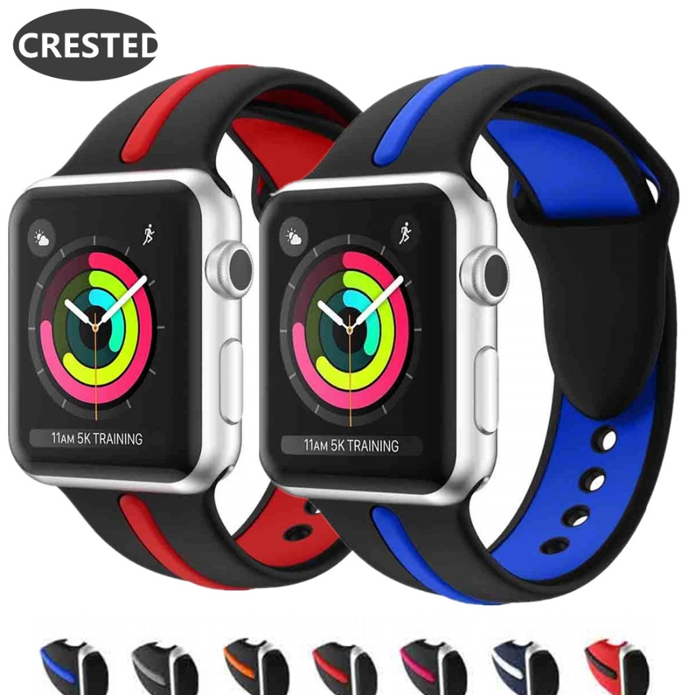 CRESTED sport Strap For apple watch band Apple watch 4 3 42mm 38mm iwatch band 44mm 40mm correa pulseira bracelet belt watchbandCRESTED sport Strap For apple watch band Apple watch 4 3 42mm 38mm iwatch band 44mm 40mm correa pulseira bracelet belt watchband
