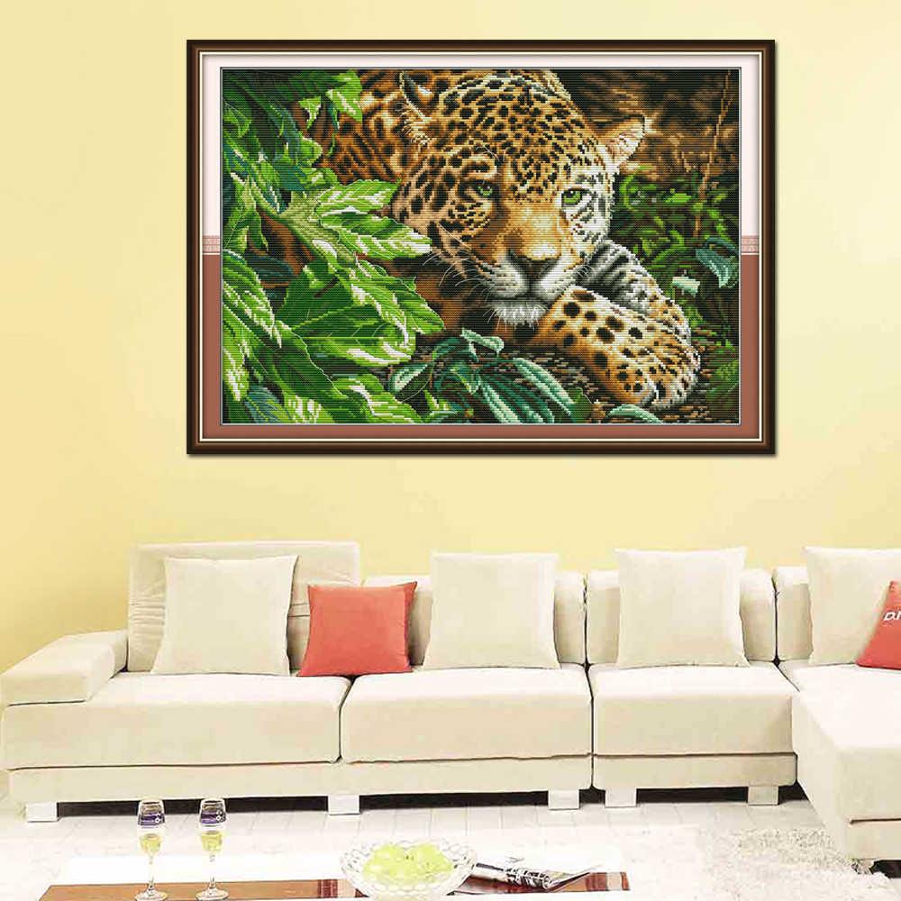 Joy Sunday леопардовая вышивка крестиком DA260 14CT 11CT Счетный и штампованный домашний декор Леопард Joy Sunday наборы крестиков