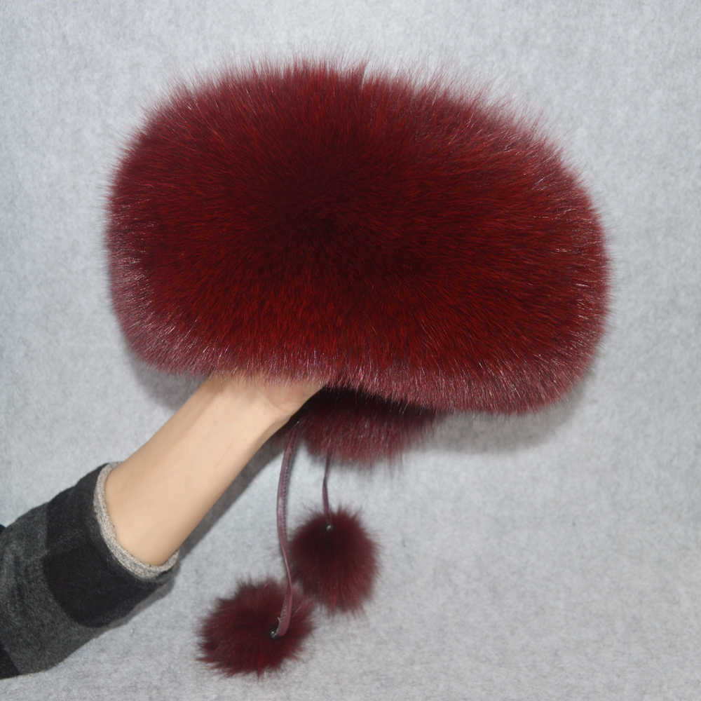 2f67a1ea9 2019 Luxury Winter 100% Natural Real Fox Fur Hat Women Outdoor Quality Real  Fox Fur Bomber Hats Girl Real Genuine Fox Fur Cap