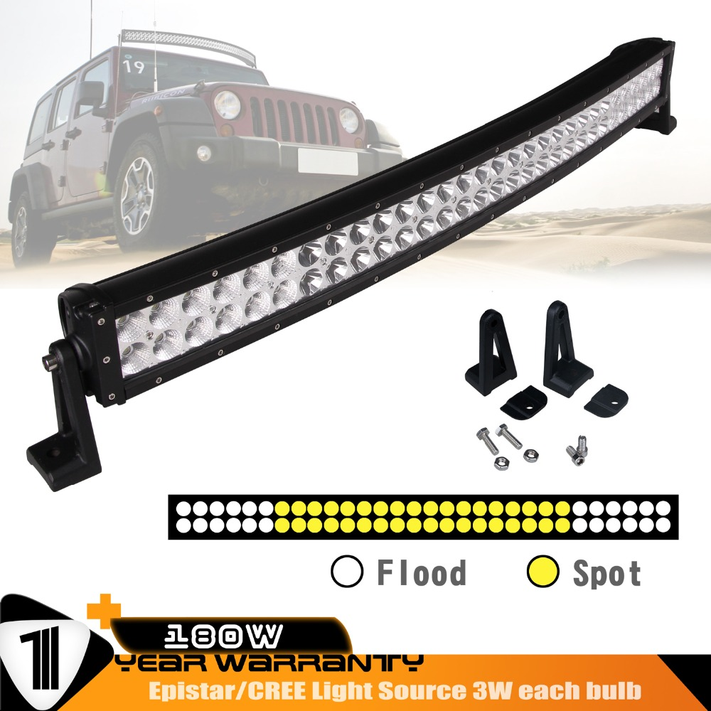 32inch 180w Curved Led Light Bar Combo Beam Black For Ford