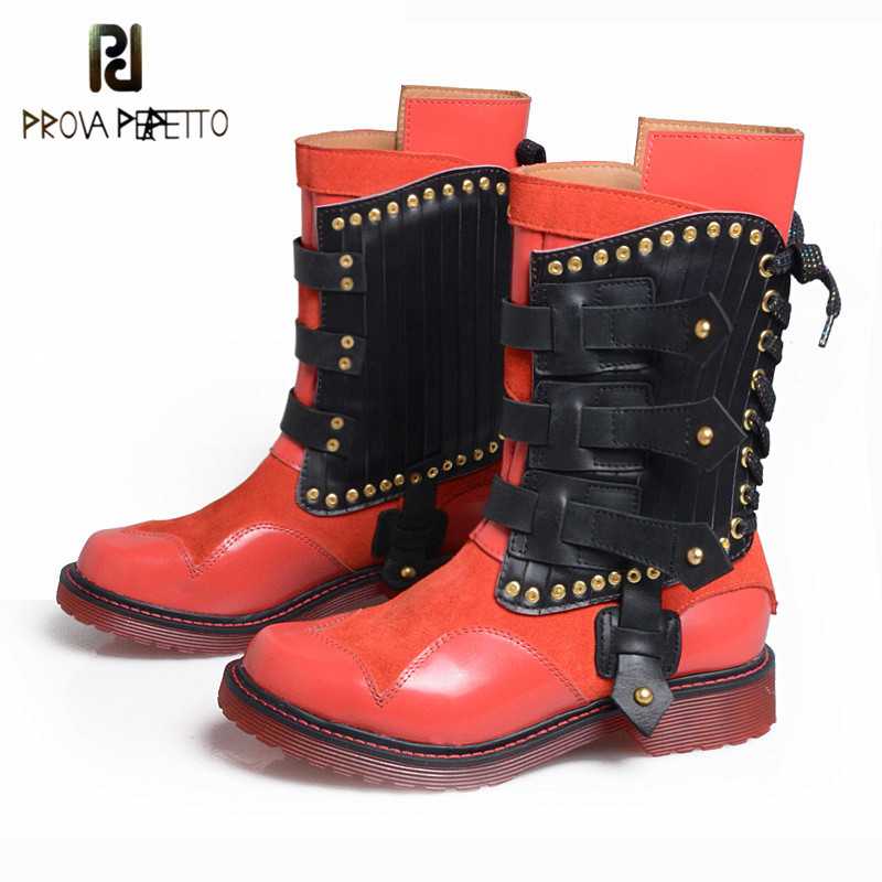 Prova Perfetto Euramerican Genuine Leather Martin Boots Cross Tied Belt Buckle Mixed Color Mid Boot Rivet Low Heels Shoes Red prova perfetto fashion round toe low heel mid calf boots feminino buckle belt thick bottom genuine leather women s martin boots