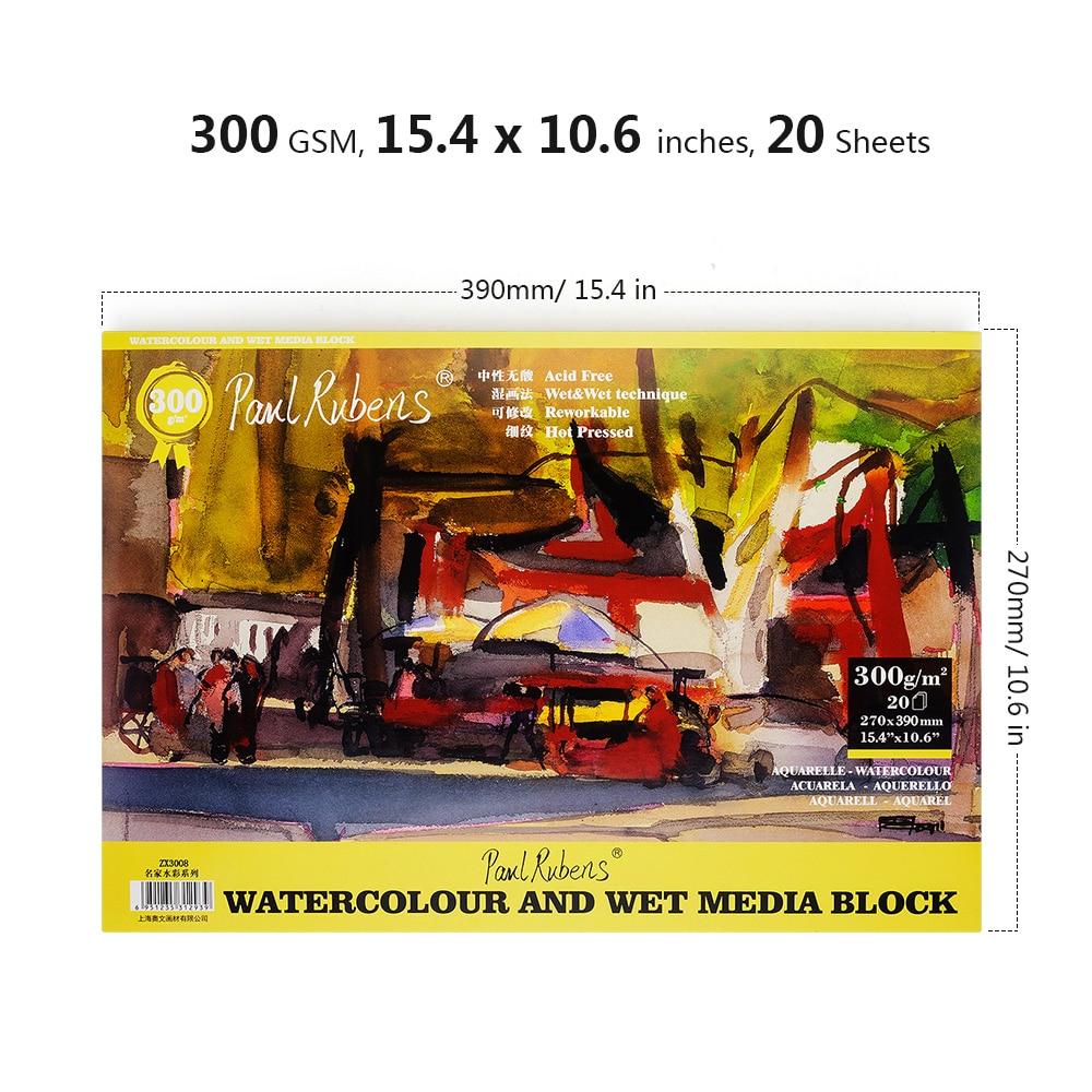 Paul Rubens 300g/m2 Artist Watercolor Paper 20 Sheets Hand Painted Water-soluble Book for Watercolor Painting Art Supplies paul rubens 8k 16k 32k professional watercolor paper 12sheets hand painted watercolor painting book for artist school supplies