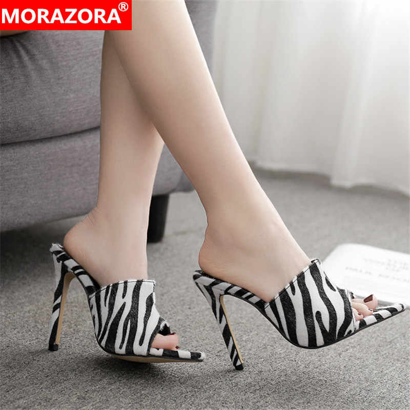 MORAZORA 2019 chegada nova cor misturada verão das sandálias das mulheres do dedo do pé aberto sexy stiletto salto alto sapatos mulher sapatos de festa de formatura mulher